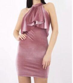 Pink Velvet Glitter Ruffle Dress Size 14