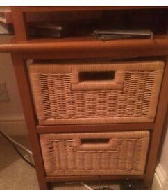 2 x beside tables with wicker draws