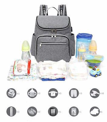 Baby Diaper Bag Nappy Bag Kits Mummy Mom Maternity Backpack USB Nursing (Nappy Kit)