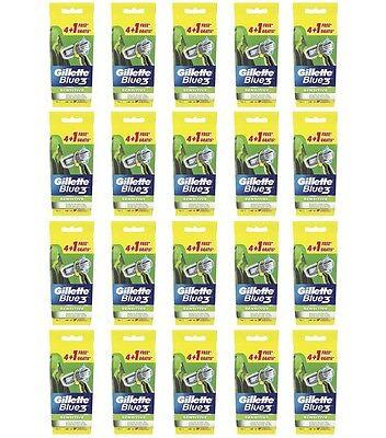 100 Lamette tre lame GILLETTE BLUE 3 Sensitive rasoio usa e getta NUOVE