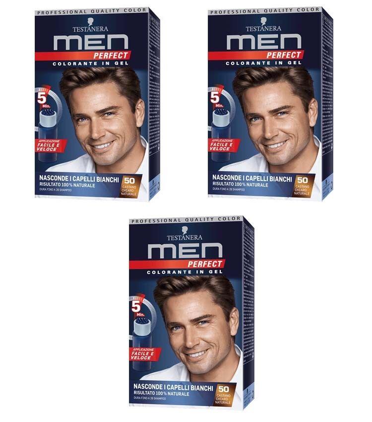 3pz Black-headed Männer PERFECT Farbstoff Gel für Haar 50 Castano klar