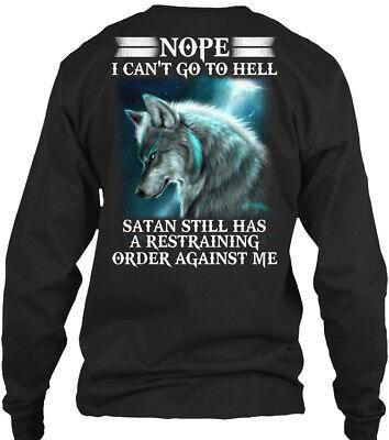Wolf Satan Restraining Order Back   Nope Cant Go Gildan Long Sleeve Tee T Shirt