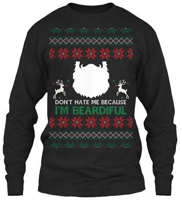 Latest Best Ugly Christmas Sweater With Beard - Gildan Long Sleeve Tee T-Shirt (Best Ugly Sweaters)