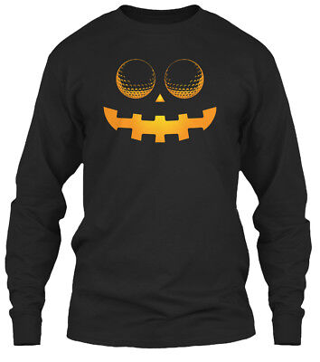 Golf Halloween S Scary Face Ha Gildan Long Sleeve Tee T-Shirt (Halloween Ha)