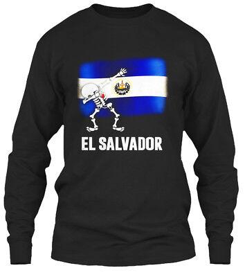 Dabbing Skeleton El Salvador Flag Halloween - Gildan Long Sleeve Tee T-Shirt