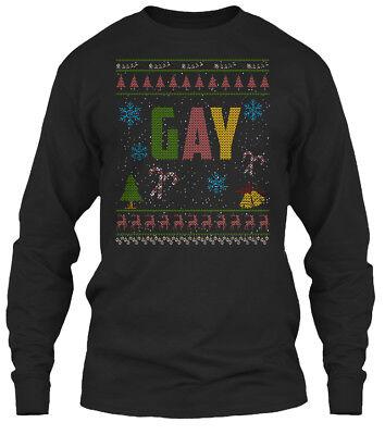 Gay Christmas Sweaters (Gay Christmas Ugly Sweater Lgbtq Gildan Long Sleeve Tee)