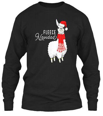 Fleece Navidad Christmas Llama S Gifts - Gildan Long Sleeve Tee T-Shirt (Fleece Navidad Shirt)