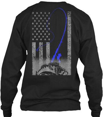 (Bass Fishing American Fisherman Gildan Long Sleeve Tee T-Shirt)