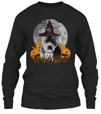 Pitbull Halloween (Custom-made Halloween Pitbull Gildan Long Sleeve Gildan Long Sleeve Tee)