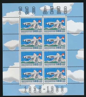 Schweiz Nr. 1369 KB postfrisch / **, Kleinbogen Pro Aero 1988 (40298)
