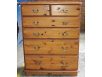 Pine Chest Of Two Over Four Long Drawers