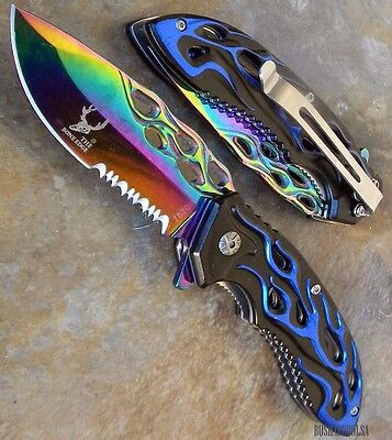 TITANIUM COATED BLADE FLAME Design Spring Assisted Pocket Knife - BLUE [7520]
