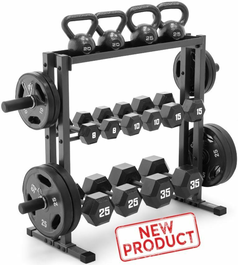 Olympic Dumbbell Rack Gym Plates Stand Weight Lifting Storag