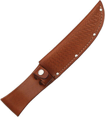 "BROWN LEATHER SHEATH FOR UP TO 6"" STRAIGHT FIXED BLADE KNIFE, SH1135"
