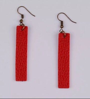 Red Bar Leather Earrings Pebbled Leather Bar Earrings Hook