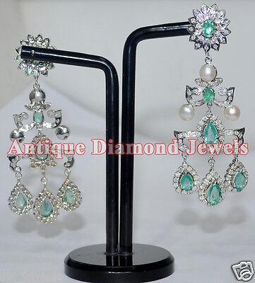 3 Stone Anniversary Earrings (4.50ct IJ/SI3 ROUND DIAMOND GEMSTONE 14k GOLD WEDDING ANNIVERSARY DANGLE EARRING )
