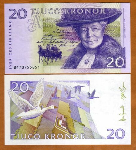 Sweden, 20 Kronor, 2008, P-63c, UNC > Selma Lagerlöf