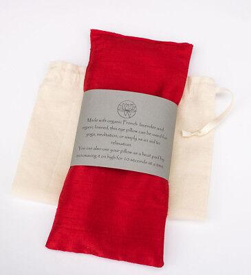 Lavender Silk Eye (Raw Silk Lavender/Flax Seed Eye Pillow & Drawstring Bag. Meditation, Yoga Gift.)