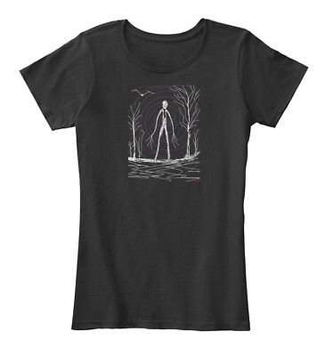 Creepy Slender Man In Woods On Halloween Women's Premium Tee T-Shirt - Slender Man Halloween