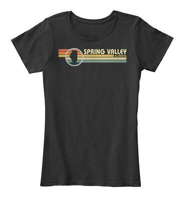 Illinois Vintage 1980s Style Spring Vall Women's Premium Tee (Fashion Vall)