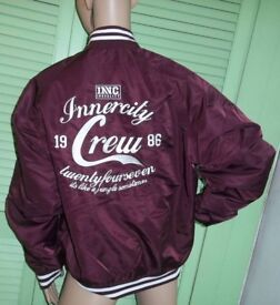 New Inner City Crew Baseball Jacket In Burgundy Size Large Men's Ladies Unisex Innercity