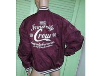 Inner City Crew Baseball Jacket In Wine Size Large Men's Ladies Unisex Innercity