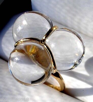 Baccarat Crystal Clear TRIO RING Size 7 with 18K Gold Details & Band $550 New