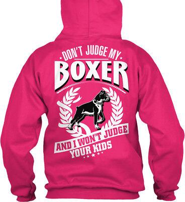 Boxer Mom - Don't Judge My And I Your Kids Gildan Hoodie Sweatshirt Mom Kids Hoodie
