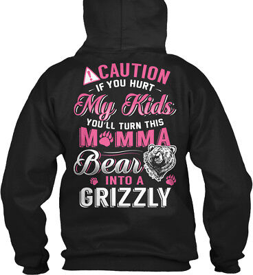 Trendsetting Momma Bear - Caution If You Hurt My Kids Gildan Hoodie Sweatshirt Mom Kids Hoodie