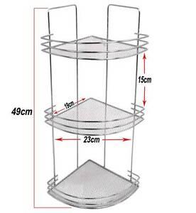 3 tier free standing wall mounted corner shelf caddy rack. Black Bedroom Furniture Sets. Home Design Ideas