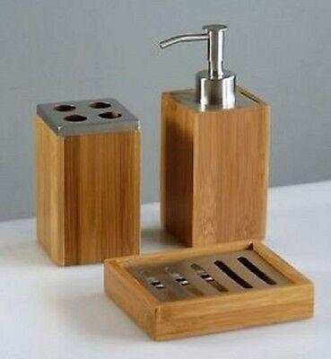 3pc set accessoires salle de bain bois bambou distributeur savon brosse dents titulaire - Accessoire Salle De Bain Bois