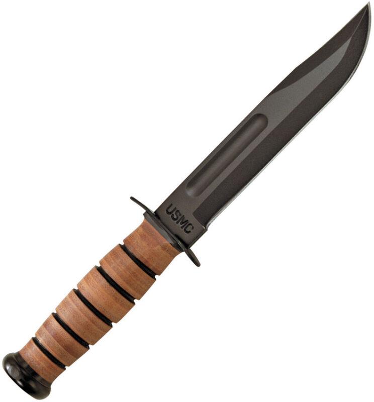 Ka-Bar USMC Fighter Plain 1095 Carbon Steel Black Fixed Knife w/ Sheath 1217
