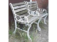 Pair Of Single Garden Benches With Cast Iron Ends