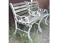 Pair Of Single Garden Benches With Cast Iron Ends Bench Seat