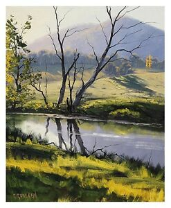 Gercken-AUSTRALIAN-RIVER-CREEK-SUMMER-LANDSCAPE-FINE-ART-ORIGINAL-OIL-PAINTING