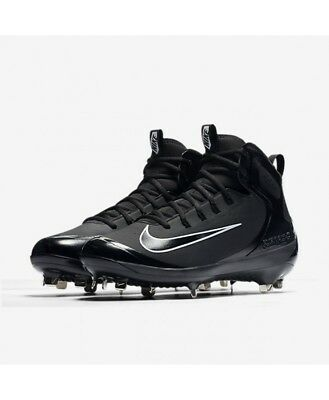 Mens Nike Alpha Huarache Elite Mid Baseball Cleats Black METAL 7 7.5 12 13 (Black Metal Baseball Cleats)