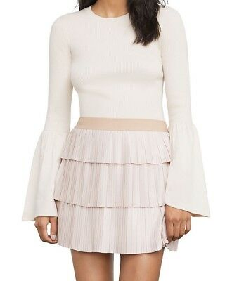 NEW BCBG CANVAS ZANA TIERED PLEATED SKIRT-TKY3F5 100%AUTHENTIC SZ S COLOR PINK