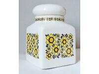 Vintage Taunton Vale Extra Large Ceramic Storage Jar Canister 70s Retro Yellow Daisies Daisy
