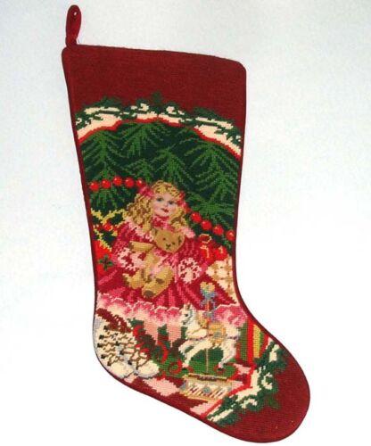 "Sferra Needlepoint Christmas Stocking ""Doll Bear & Girls Toys"" Handmade New"