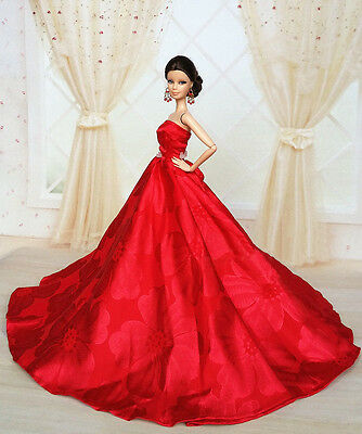 Red Fashion Royalty Princess Party Dress/Clothes/Gown For Barbie Doll S151