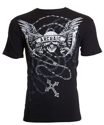 Archaic AFFLICTION Men T-Shirt HIT HARD Skull Wings Tattoo Biker UFC M-4XL $40 a