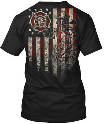 Editon Firefighter U.s Flag - Honor Respect Courage Hanes Tagless Tee T-Shirt
