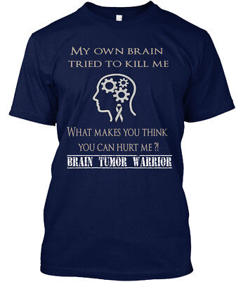 Brain Tumor Warrior Words   My Own Tried To Kill Me Hanes Tagless Tee T Shirt