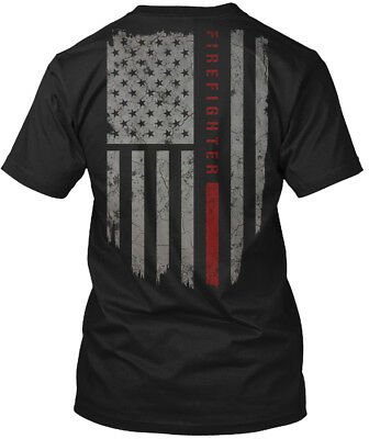 (Machine washable Firefighter Thin Red Line - Fire Hanes Tagless Tee T-Shirt)