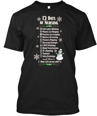 12 Days Of Nursing Funny Christmas Nurse Hanes Tagless Tee T-Shirt ()