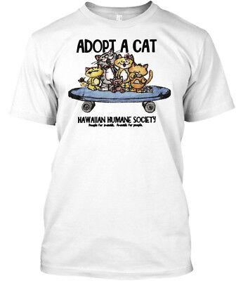 Adopt A Cat Brodie Version   Hawaiian Humane Society Hanes Tagless Tee T Shirt