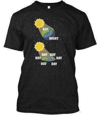Day Night Flat Earth Science   Nighy Hanes Tagless Tee T Shirt