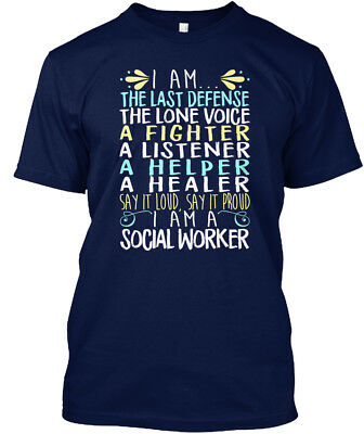 Social Worker   I Am The Last Defence Lone Voice A Hanes Tagless Tee T Shirt