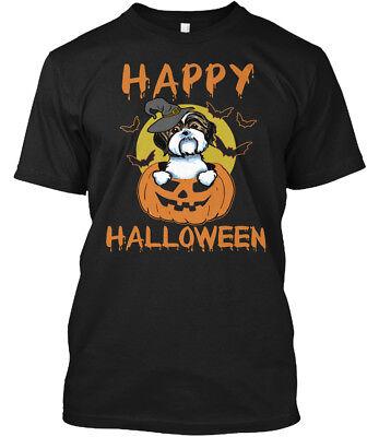 Shih Tzu Halloween - Happy N/a Hanes Tagless Tee T-Shirt - Happy Halloween N