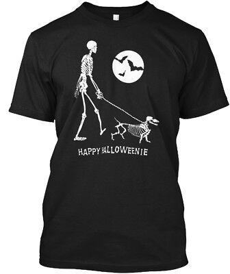 Dachshund Halloween Shirt (Dachshund Doxie Wiener Sausage Halloween - Happy Hanes Tagless Tee)